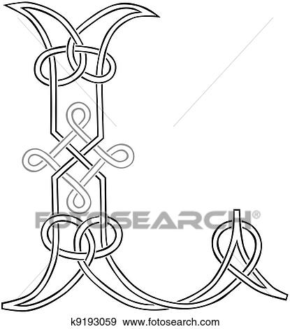 Clip Art Of Celtic Knot Work Capital Letter L K9193059 Search