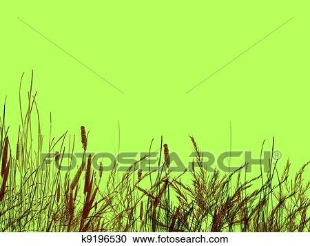 Erba E Pettini Su Sfondo Verde Clipart K9196530 Fotosearch