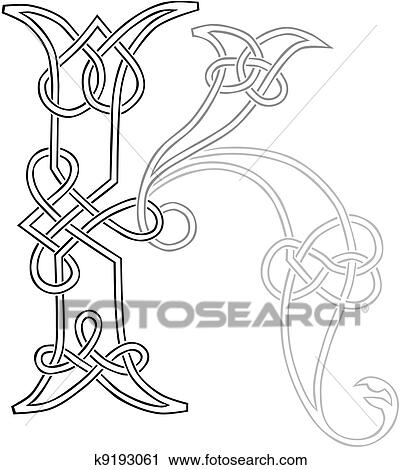Keltisch, knot-work, hoofdletter, k Clipart