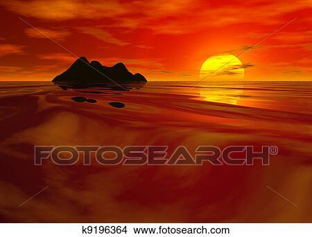 Dessins rouge clair paysage marin coucher soleil - Dessin coucher de soleil ...