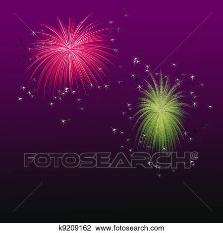 Colorful Fireworks Drawing K9209162 Fotosearch