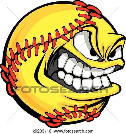 clip art of fast pitch softball face cartoon ball vector image rh fotosearch com women's softball vector art softball vector art free
