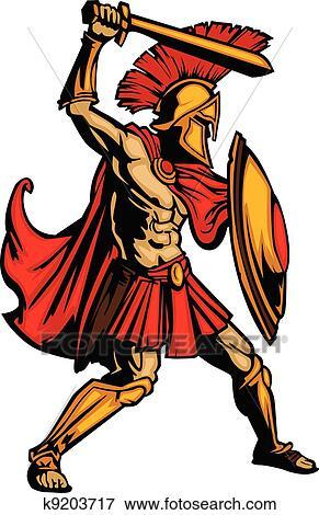clip art of spartan mascot body with sword and shield vector rh fotosearch com spartan clipart gallery clipart spartan helmet