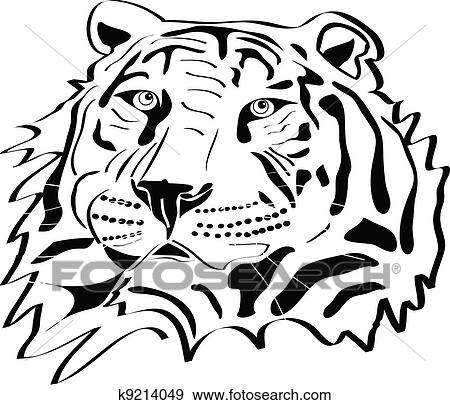 Clip Art - cabeza tigre, tatuaje, silueta k9214049 - Buscar Clip Art ...