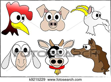 clip art of farm domestic animals k9215229 search clipart rh fotosearch com clip art farm animals for kids cute clipart farm animals