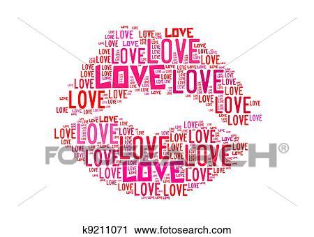 kus, symbool, voor, liefde, tekst, grafiek, en, regeling, concept
