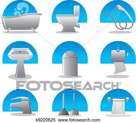 Clipart - badezimmer, und, toilette, web, symbol, satz k9220625 ...