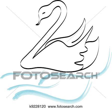 Cygne Silhouette Main Dessin Logo Clipart K9228120 Fotosearch
