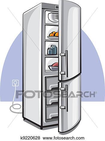 Clipart deux porte r frig rateur k9220628 recherchez des cliparts des illustrations des - Refrigerateur deux portes ...