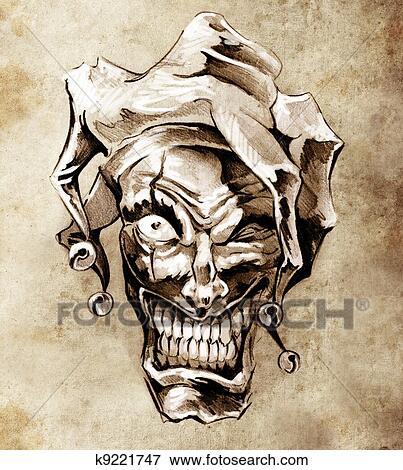 Image Fantasme Clown Joker Croquis De Tatouage Art Sur