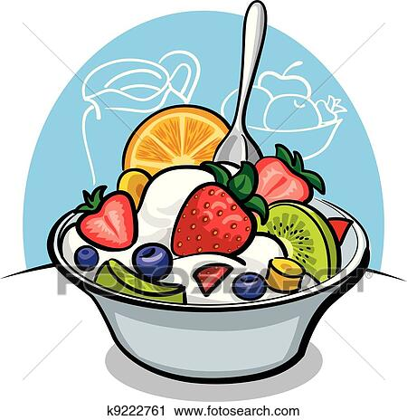 clipart of fruit salad with yogurt and strawbe k9222761 search rh fotosearch com