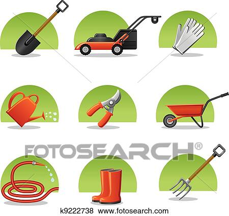 Clipart - icônes toile, outils jardin k9222738 - Recherchez des ...