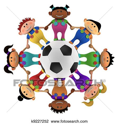 Multiethnic Kids Around A Football Drawing K9227252 Fotosearch
