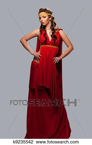 Stock Foto - mädchen, in, dass, kleid, von, dass, griechische göttin ...