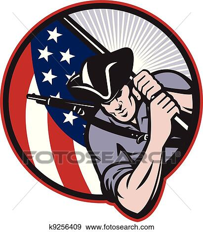 clip art of american patriot minuteman with flag k9256409 search rh fotosearch com minuteman clipart free minutemen clipart