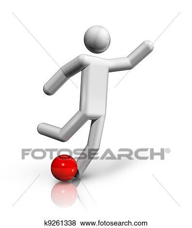 Football Fussball 3d Symbol Stock Illustration