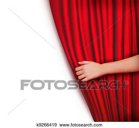 Clip Art Hintergrund Mit Rot Samt Vorhang K9266419 Suche