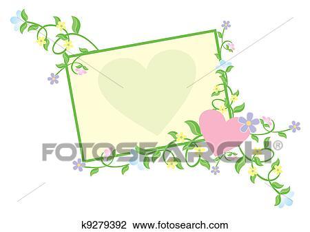 Klip Art Kalp Ile çiçekler Pastel Boya K9279392 Klipart