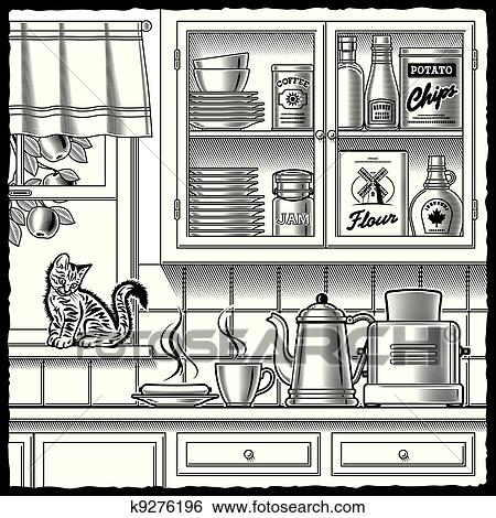 Clip art retro kitchen black and white fotosearch search clipart illustration posters