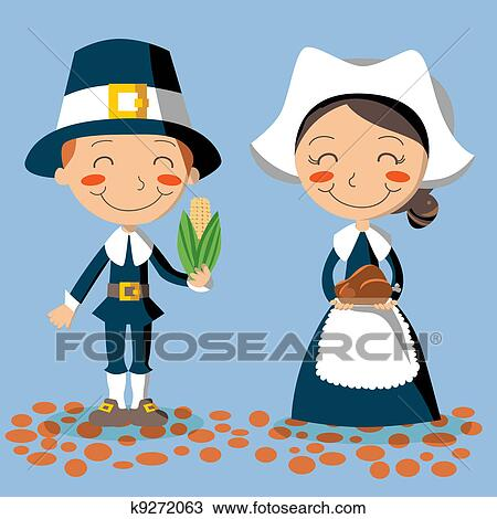 Thanksgiving Day Pilgrim Couple Clipart | k9272063 ...