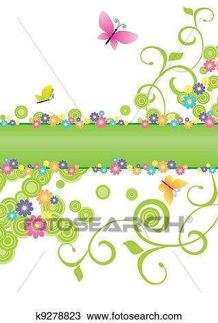 Dibujo Verano Bandera Verde Con Mariposas Y Flores K9278823