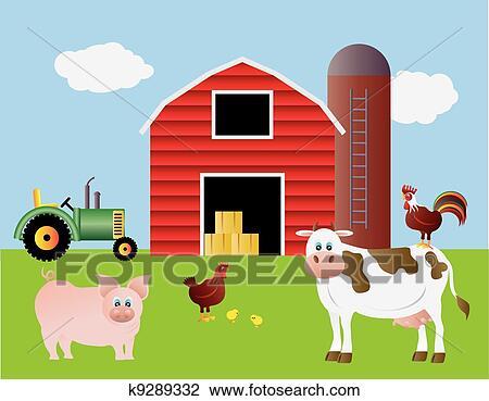 Clipart Bauernhof Mit Rote Scheune Und Tiere K9289332 Suche