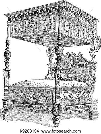 clipart 16e si cle lit les mus e national de les moyen ge dans paris france. Black Bedroom Furniture Sets. Home Design Ideas