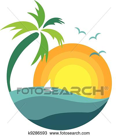 clipart of palm tree with sunset view k9286593 search clip art rh fotosearch com clipart sunset boat clipart sunset cruise