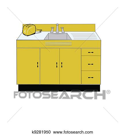 Clipart of retro kitchen sink and toaster k9281950 - Search Clip Art ...