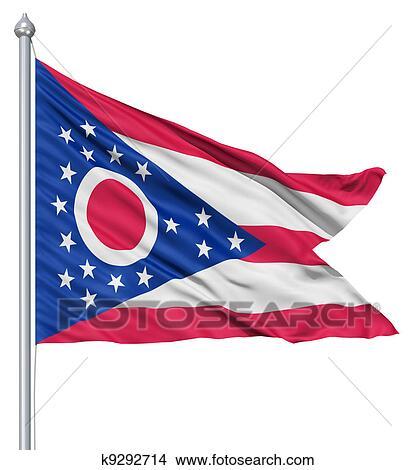 Bandera Ondeante De Estados Unidos De América Estado Ohio Dibujos