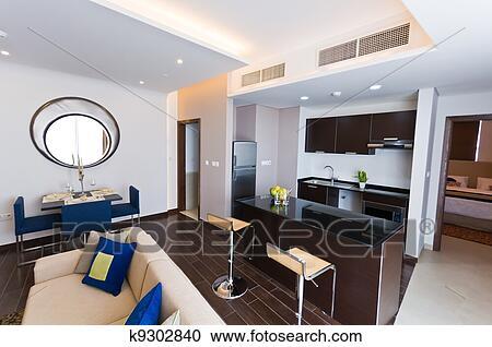 Interieur De Moderne Appartement Cuisine Et Salon Clipart