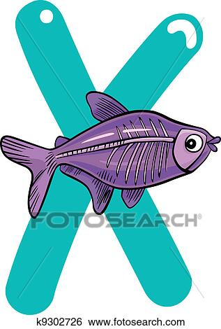 clip art of x for x ray fish k9302726 search clipart illustration rh fotosearch com x ray clip art hand xray clip art chest