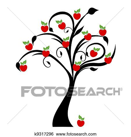 clip art of apple tree k9317296 search clipart illustration rh fotosearch com clipart apple tree free clip art apple tree leaf