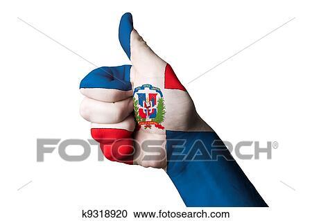 Banco de Fotografías - dominicano, bandera nacional, pulgar up ...