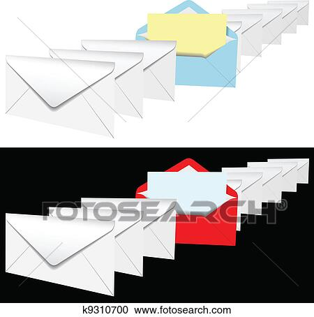 Clipart Of Open Envelope Letter In Row Of Letters K9310700 Search
