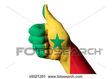 Senegal Bandera Nacional Pulgar Up Gesto Para