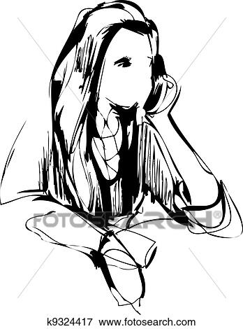 Clip Art Of Sketch Of A Girl At The Table K9324417