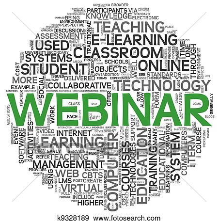stock illustration of webinar concept in word tag cloud k9328189