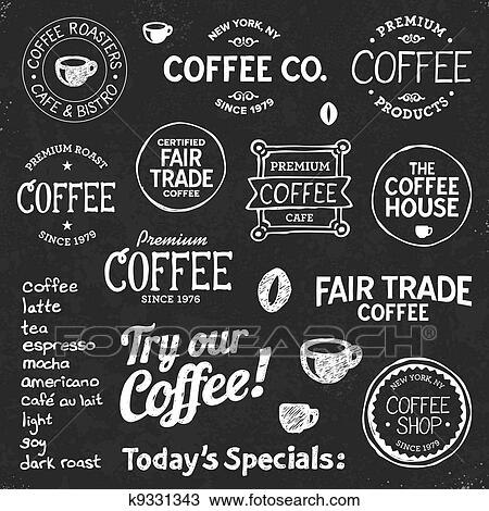 clipart of coffee chalkboard text and symbols k9331343 search clip