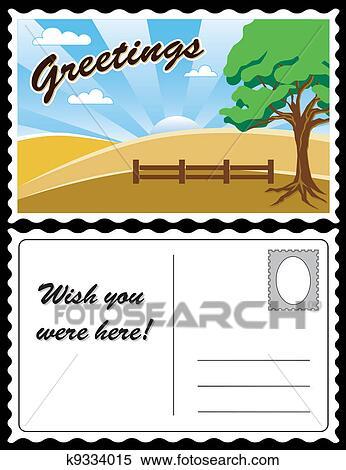 Country Landscape Travel Postcard Clipart K9334015