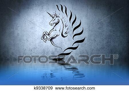 Colección De Ilustraciones Tatuaje Lindo Unicornio Con Agua