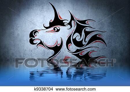 Tatuaje Unicornio Con Agua Reflexión Ilustración Diseño