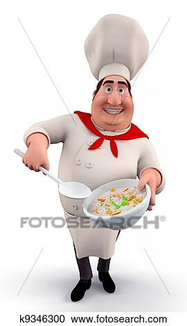 Chef with Pot Clipart | k10973313 | Fotosearch