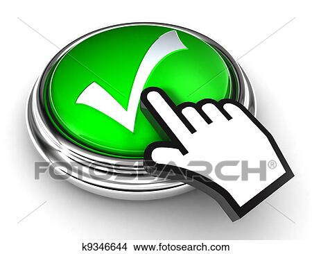 Drawings Of Ok Tick Check Mark Symbol On Green Button With Cursor