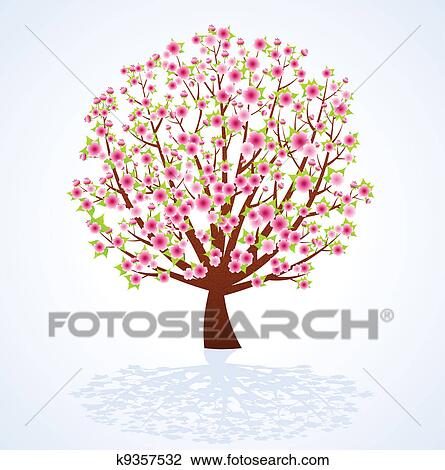 桜の木 クリップアート切り張りイラスト絵画集 K9357532