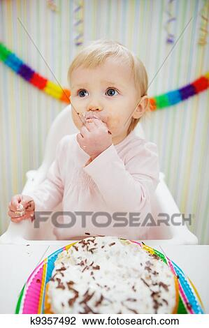 Incredible Eat Smeared Baby Eating Birthday Cake Stock Image K9357492 Funny Birthday Cards Online Inifofree Goldxyz