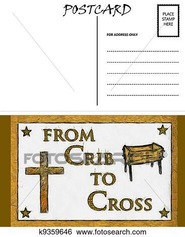 Blank Postcard Template | Stock Illustration Of Empty Blank Postcard Template Crib And Cross