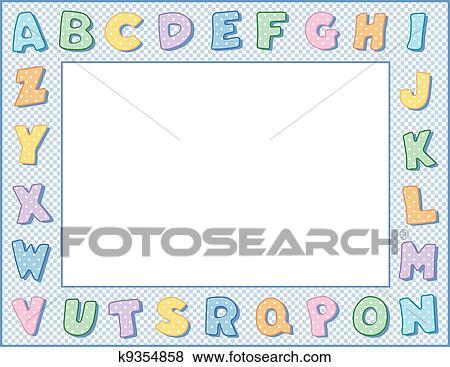 Clip Art of Pastel Polka Dot Alphabet Frame k9354858 - Search ...