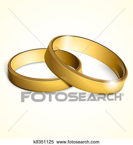 Clipart Vektor Goldene Hochzeit Ringe K9351125 Suche Clip Art