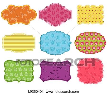 Clipart Of Vintage Colorful Design Elements For Scrapbook Tags And